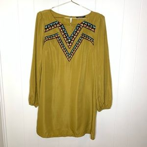 West 36th Embroidered Mustard Yellow Dress